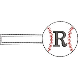 Baseball Key Fob R embroidery design