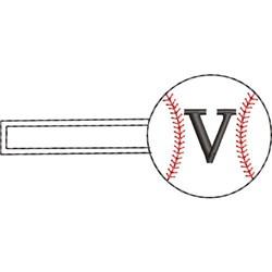Baseball Key Fob V embroidery design