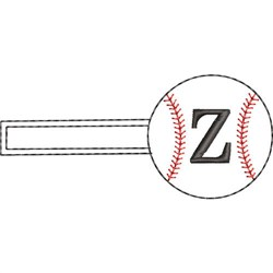 Baseball Key Fob Z embroidery design