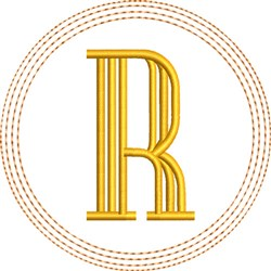 ITH R Coaster embroidery design