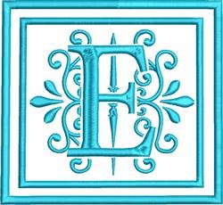 E Monogram embroidery design