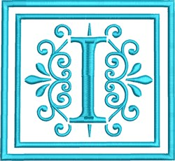 I Monogram embroidery design