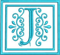 J Monogram embroidery design