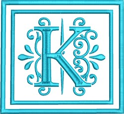 K Monogram embroidery design