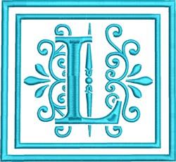 L Monogram embroidery design