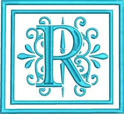 R Monogram embroidery design