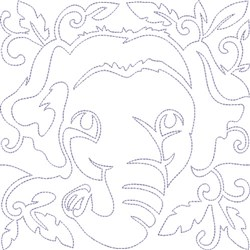 Quilt Block Elephant embroidery design