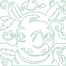 Quilt Block Rhino embroidery design