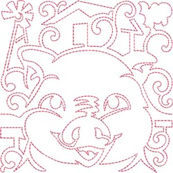 Pig Quilt Block embroidery design