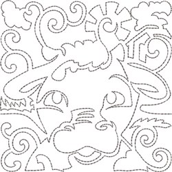 Cow Quilt Block embroidery design