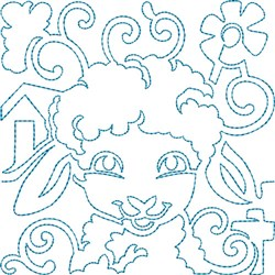 Lamb Quilt Block embroidery design