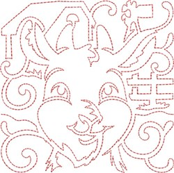 Goat Quilt Block embroidery design