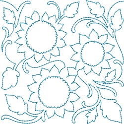 Sunflower Quilt Block embroidery design