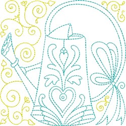Quilt Block Water Can embroidery design