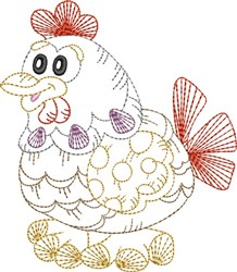 Chicken Outline embroidery design