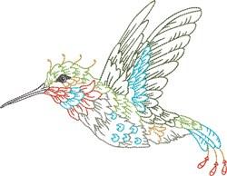Flying Hummingbird embroidery design