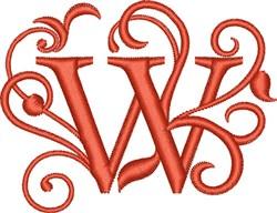 Elegant Monogram Font W embroidery design