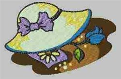 Hat and Flowers embroidery design