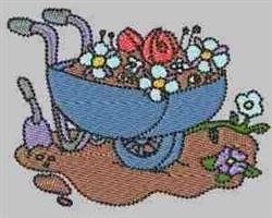 Wheelbarrow Garden embroidery design