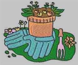 Gloves & Rake embroidery design