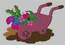 Gardening with Wheelbarrow embroidery design