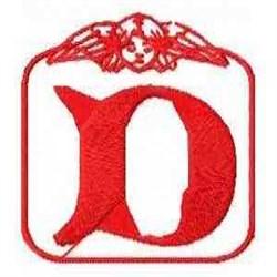 Redwork Angel Letter D embroidery design