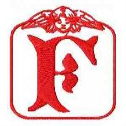 Redwork Angel Letter F embroidery design