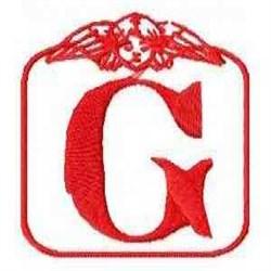 Redwork Angel Letter G embroidery design