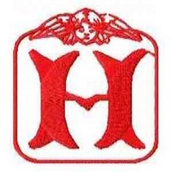 Redwork Angel Letter H embroidery design