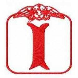 Redwork Angel Letter I embroidery design