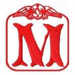 Redwork Angel Letter M embroidery design