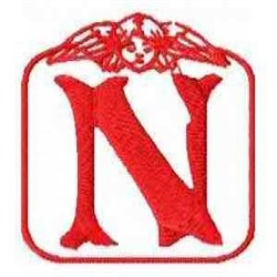 Redwork Angel Letter N embroidery design