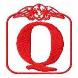 Redwork Angel Letter Q embroidery design