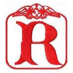 Redwork Angel Letter R embroidery design