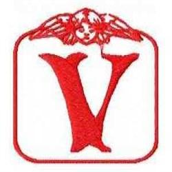 Redwork Angel Letter V embroidery design