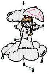 Angel with Umbrella embroidery design