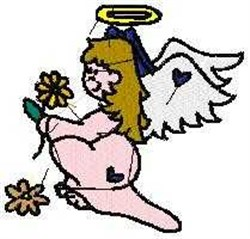 Angel with Flower embroidery design