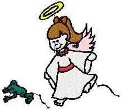 Angel with Frog embroidery design