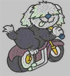 Dog on Cycle embroidery design