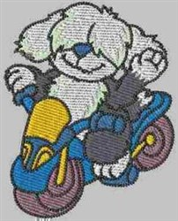 Canine with Motorbike embroidery design