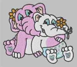 Two Elephants embroidery design