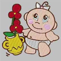Baby With Flowers embroidery design
