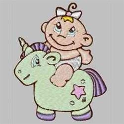 Baby On Unicorn embroidery design