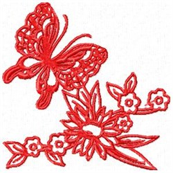 Redwork Butterfly embroidery design