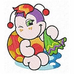 Winking Ladybug embroidery design