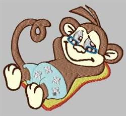 Sunbathing Monkey embroidery design