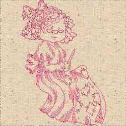 Redwork Quilting Woman embroidery design