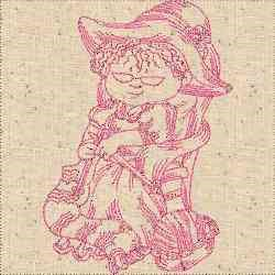 Redwork Knitting Lady embroidery design