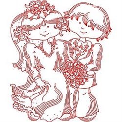 Redwork Bride and Groom embroidery design