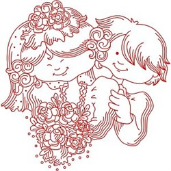 Redwork Just Married embroidery design